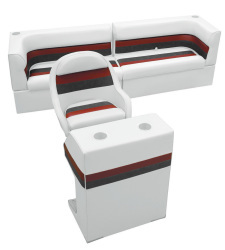 Deluxe Pontoon Rear Group B, White-Charcoal-Red - Wise Boat Seats