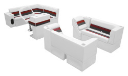 Deluxe Pontoon Complete Boat Group G, White-Charcoal-Red - Wise Boat Seats