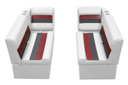 Deluxe Pontoon Front Group C, White-Charcoal-Red - Wise Boat Seats