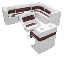Deluxe Pontoon Rear Group F, White-Charcoal-Red - Wise Boat Seats