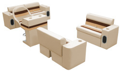 Deluxe Pontoon Complete Boat Group D, Sand-Chestnut-Gold - Wise Boat Seats