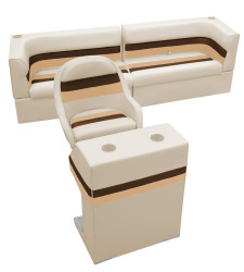 Deluxe Pontoon Rear Group B, Sand-Chestnut-Gold - Wise Boat Seats