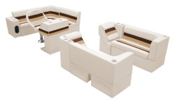 Deluxe Pontoon Complete Boat Group G, Sand-Chestnut-Gold - Wise Boat Seats