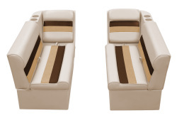 Deluxe Pontoon Front Group C, Sand-Chestnut-Gold - Wise Boat Seats
