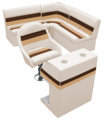 Deluxe Pontoon Rear Group D, Sand-Chestnut-Gold - Wise Boat Seats
