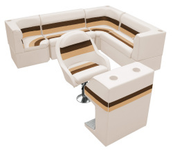Deluxe Pontoon Rear Group F, Sand-Chestnut-Gold - Wise Boat Seats