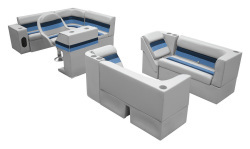 Deluxe Pontoon Complete Boat Group G, Gray-Navy-Blue - Wise Boat Seats