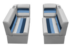 Deluxe Pontoon Front Group C, Gray-Navy-Blue - Wise Boat Seats