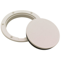 "Pry-Up Deck Plate, ID 4"", OD 5 1/2"", Arctic White - Seachoice"