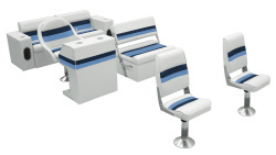 Deluxe Pontoon Complete Boat Group B, White-Navy-Blue - Wise Boat Seats