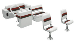 Deluxe Pontoon Complete Boat Group B, White-Charcoal-Red - Wise Boat Seats