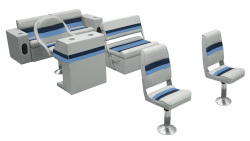 Deluxe Pontoon Complete Boat Group B, Gray-Navy-Blue - Wise Boat Seats