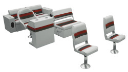 Deluxe Pontoon Complete Boat Group B, Gray-Charcoal-Red - Wise Boat Seats