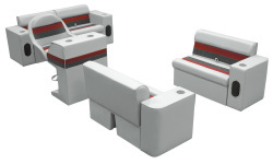 Deluxe Pontoon Complete Boat Group D, Gray-Charcoal-Red - Wise Boat Seats