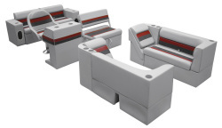 Deluxe Pontoon Complete Boat Group E, Gray-Charcoal-Red - Wise Boat Seats