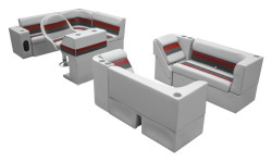 Deluxe Pontoon Complete Boat Group G, Gray-Charcoal-Red - Wise Boat Seats