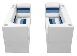 Deluxe Pontoon Front Group B, White-Navy-Blue - Wise Boat Seats