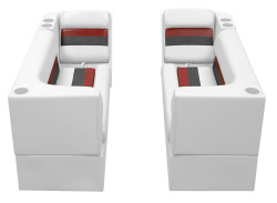 Deluxe Pontoon Front Group B, White-Charcoal-Red - Wise Boat Seats