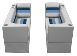 Deluxe Pontoon Front Group B, Gray-Navy-Blue - Wise Boat Seats