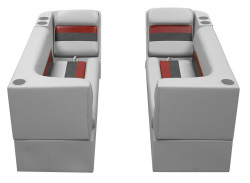 Deluxe Pontoon Front Group B, Gray-Charcoal-Red - Wise Boat Seats