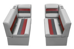 Deluxe Pontoon Front Group C, Gray-Charcoal-Red - Wise Boat Seats
