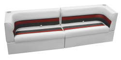 Deluxe Pontoon Rear Group A, White-Charcoal-Red - Wise Boat Seats