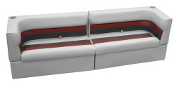Deluxe Pontoon Rear Group A, Gray-Charcoal-Red - Wise Boat Seats