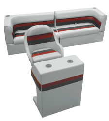 Deluxe Pontoon Rear Group B, Gray-Charcoal-Red - Wise Boat Seats