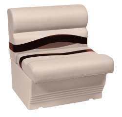 "Premier Pontoon 27"" Bench Seat, Platinum-Platinum Punch-Wineberry-Manatee - Wise Boat Seats"