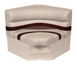 "Premier Pontoon 32"" Radius Corner Section Seat, Platinum-Platinum Punch-Wineberry-Manatee - Wise Boat Seats"