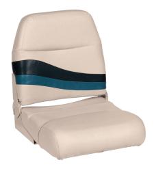 Premier Pontoon Fold Down Boat Seat, Platinum-Platinum Punch-Navy-Cobalt - Wise Boat Seats