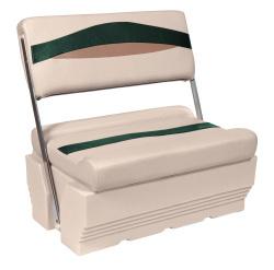 Premier Pontoon Flip-Flop Seat, Platinum-Platinum Punch-Jade-Fawn - Wise Boat Seats
