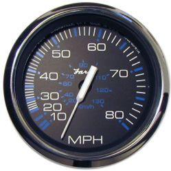 "Chesapeake SS Speedometer, 80 MPH, 4"", Sender Required - Faria"