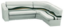 Premier Pontoon Standard Rear L Group, Platinum-Platinum Punch-Jade-Fawn - Wise Boat Seats