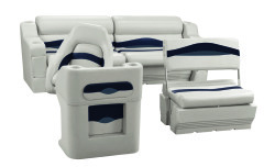 Premier Pontoon Traditional Rear Seat Group, Platinum-Platinum Punch-Navy-Cobalt - Wise Boat Seats