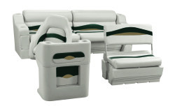 Premier Pontoon Traditional Rear Seat Group, Platinum-Platinum Punch-Jade-Fawn - Wise Boat Seats