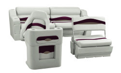 Premier Pontoon Traditional Rear Seat Group, Platinum-Platinum Punch-Wineberry-Manatee - Wise Boat Seats