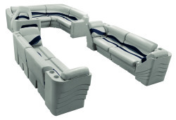 Premier Pontoon Popular L Seating Group, Platinum-Platinum Punch-Navy-Cobalt - Wise Boat Seats