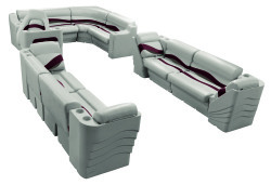 Premier Pontoon Popular L Seating Group, Platinum-Platinum Punch-Wineberry-Manatee - Wise Boat Seats