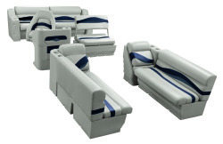 Premier Pontoon Traditional Seat Group, Platinum-Platinum Punch-Navy-Cobalt - Wise Boat Seats