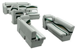 Premier Pontoon Traditional Seat Group, Platinum-Platinum Punch-Jade-Fawn - Wise Boat Seats