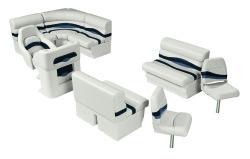 Premier Pontoon Angler 8 ft with Boat Rear Entry Group, Platinum-Platinum Punch-Navy-Cobalt - Wise Boat Seats