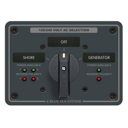8369 AC Rotary Switch Panel, 65 Amp, 2 Positionplus Off, 4 Pole - Blue Sea Systems