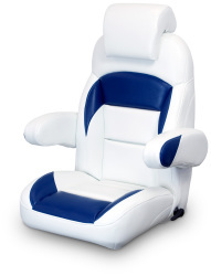 High Back Reclining Helm Seat with Arms & Headrest, White and Navy - Lexington Seats