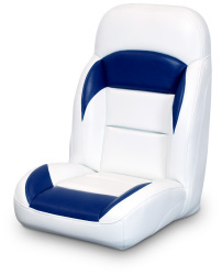 High Back Reclining Helm Seat, White and Navy - Lexington Seats