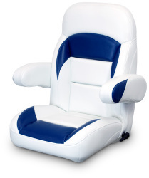 High Back Reclining Helm Seat with Arms, White and Navy - Lexington Seats
