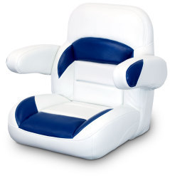 Low Back Non-Reclining Helm Seat with Arms, White and Navy - Lexington Seats