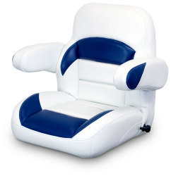 Low Back Reclining Helm Seat with Arms, White and Navy - Lexington Seats