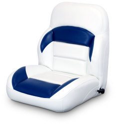 Low Back Reclining Helm Seat, White and Navy - Lexington Seats