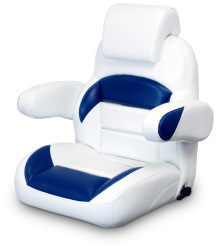 Low Back Reclining Helm Seat with Arms & Headrest, White and Navy - Lexington Seats